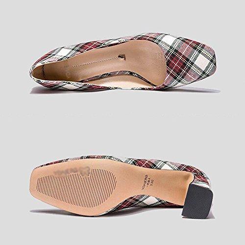 Zapatos Solo 7cm Sandalias color 02 con Feifei Tacón De Tamaño Alto Eu38 5 cn38 Square Banquet Mujer Grueso Vintage Head 02 Moda uk5 S65w6P