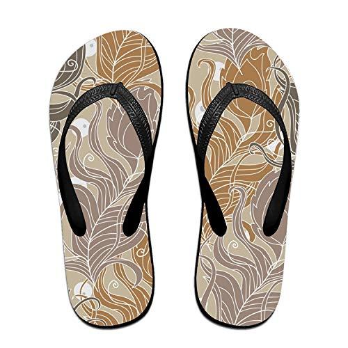 Kefanlk Leaves of Peacocks Flip-Flops Beach Slim Sandal for Women/Men, Multicolored Design Comfort Proof Slippers Black