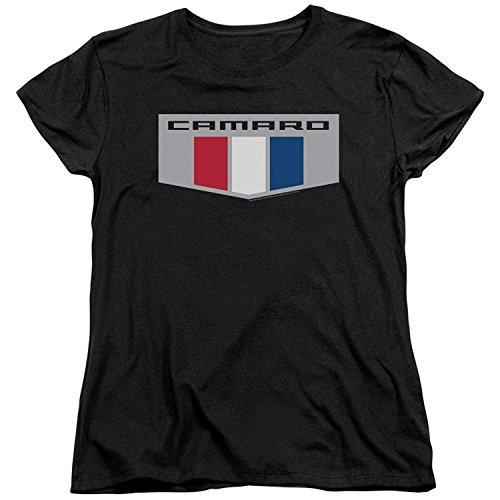 A&E Designs Ladies Chevrolet Camaro T-Shirt Chrome Emblem Logo Shirt (Medium, Black)