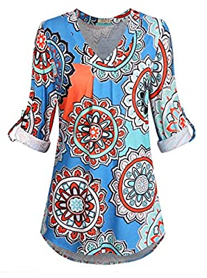 Moyabo Women's 3/4 Cuffed Sleeve V Neck Floral Printed Tunic Blouses Tops