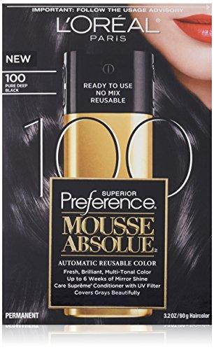 Préférence de L'Oréal Paris Couleur des cheveux Supérieur Mousse Absolue, 100 pur Deep Black