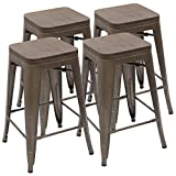 "Devoko Metal Bar Stool 24"" Indoor Outdoor Stackable Barstools Modern Industrial Vintage Gun Counter Wood Top Bar Stools Set of 4 (Gun)"