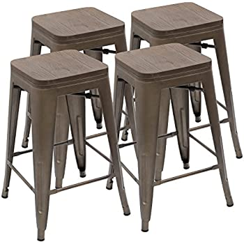 Amazon Com Gia Gray 24 Quot Metal Stool With Wooden Seat Set