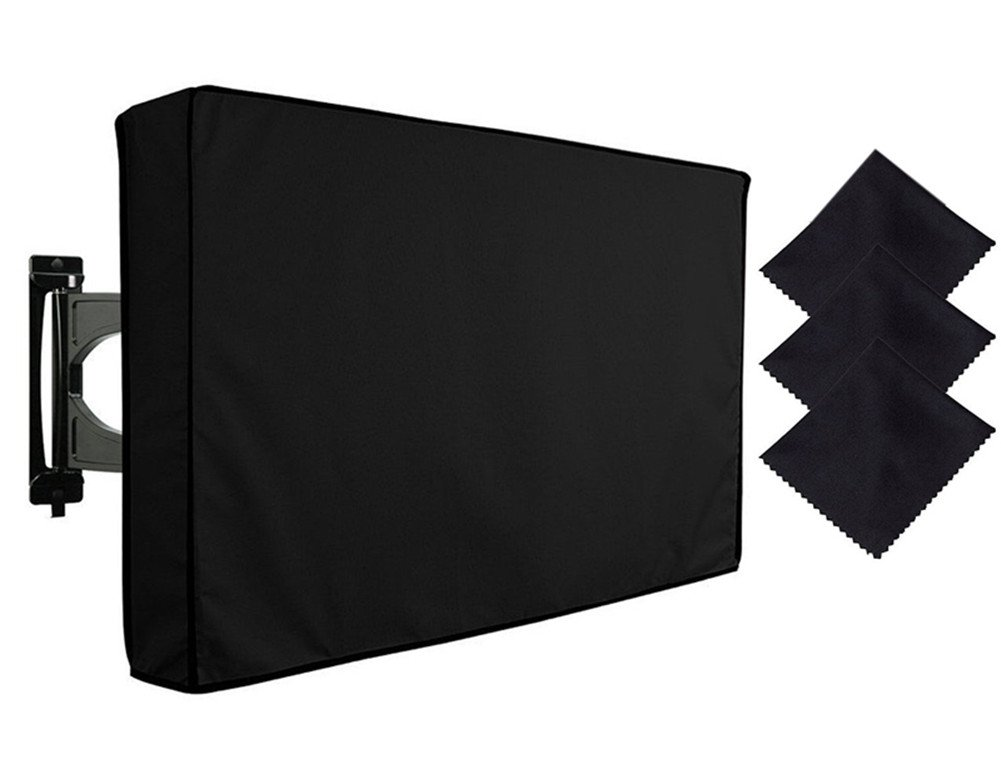FLYMEI Outdoor TV Cover 30''-32'', Dust-proof and Weatherproof Universal Protector for LED, OLED, LCD, and Plasma Televisions with 3pcs of FREE Microfiber Cloth, Black
