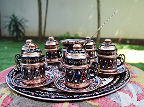Copper Turkish Coffee Set for Six with Coffee Pot, Totally Handmade, Express Shipping with Track Number, Special Design