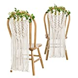 Mkono Macrame Wedding Chair Decorations Dual-Function Woven Wall Hanging Decor, Set of 2