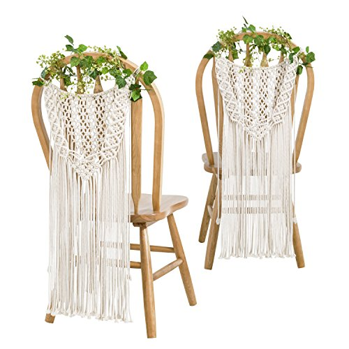 Mkono Macrame Wedding Chair Decorations Dual-Function Woven Wall Hanging Decor,...