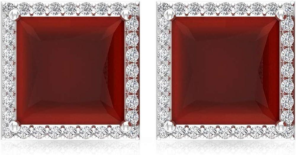 Pendientes de ónix rojo de 2,8 quilates, con piedra preciosa de corte princesa, IGI certificado de declaración de diamante, IJ-SI, pendientes de novia vintage, tornillo hacia atrás