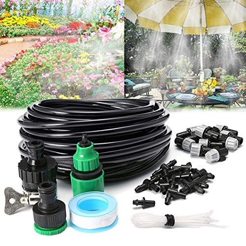AGSIVO Home Garden Patio Misting Micro Flow Drip Irrigation Misting Cooling System Plastic Mist Nozzle Sprinkler Micro Blubber for Patio Garden Greenhouse Trampoline for waterpark (32.8ft A) ()