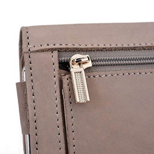 Kroo Pochette Housse Téléphone Portable en cuir véritable pour Samsung Galaxy Note 4Duos gris