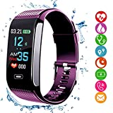 amazqi Fitness Tracker HR, Smart Bracelet Activity Tracker with Color Display Blood Pressure Heart Rate Sleep Monitor IP67 Waterproof for Android IPhone Adults Kids (Purple)