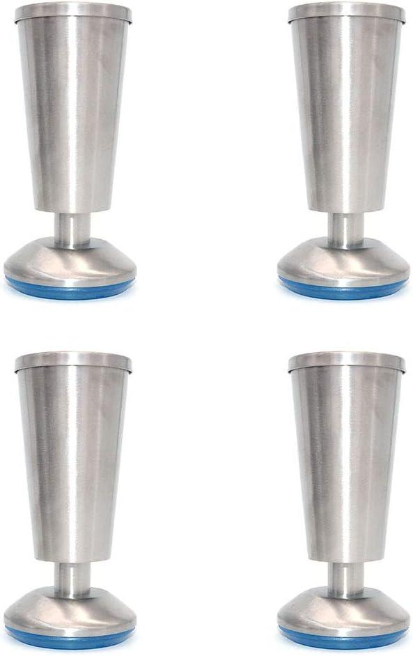 Set of 4 NUZAMAS Cabinet Legs Kitchen Feet Worktop, Cup Shape, 120mm High, Unit, Breakfast Bar, Desk Table Legs Furniture Legs - Stainless Steel - 0-5mm Adjustable Height
