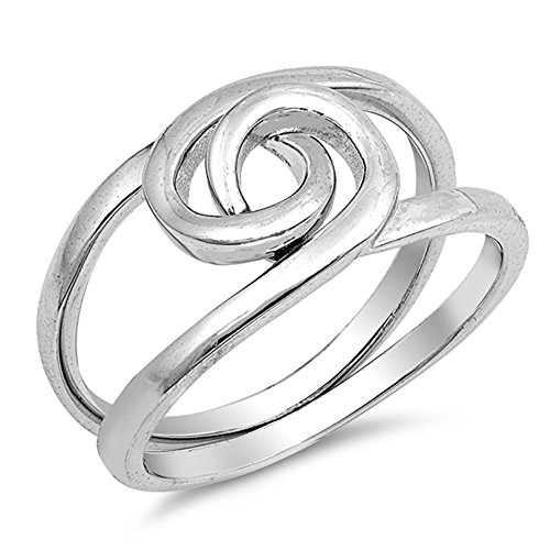 Two Piece Puzzle Knot Criss Cross Ring New .925 Sterling Silver Band Size 4