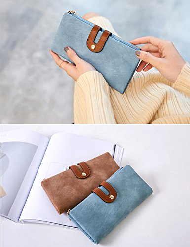 IFUNLE Womens Long Clutch Slim Wallet Large Capacity Thin Bifold Wallet Card Holder Cash Key Passport Checkbook Organizer Zipper Buckle Travel Coin Purse Handbag (Light Blue) by IFUNLE (Image #3)