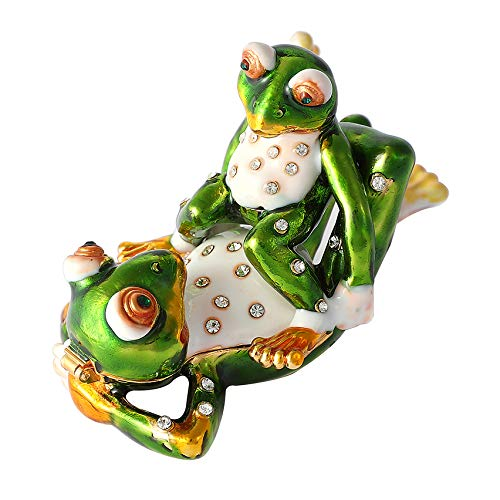 QIFU Vintage Style Hand Painted Two Frogs Shape Jewelry Trinket Box with Rich Enamel and Sparkling Rhinestones | Unique Gift Home Decor | Best Ornament Your ()