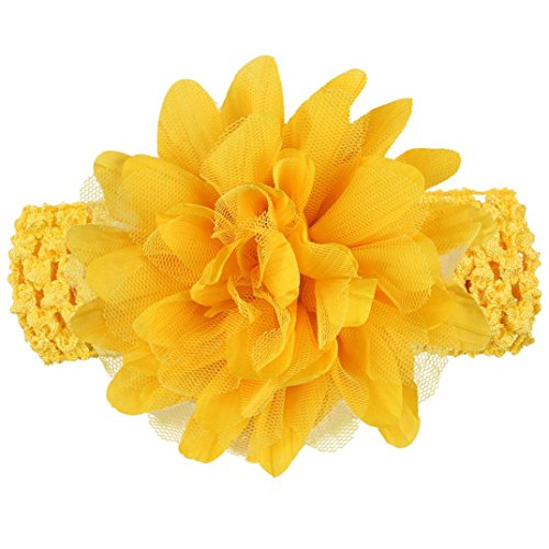 Baby Girls Headband, Iuhan Baby Girls Headband Lace Bow Hairband Flower Headbands (Yellow)