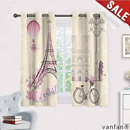 LQQBSTORAGE Kiss,Window Curtains Tropical,Floral Paris Symbols Landmarks Eiffel Tower Hot Air Balloon Bicycle Romantic Couple, Room Darkening Wide Curtains,Ivory Pink