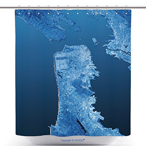 vanfan-Cool Shower Curtains San Francisco Topographic Map D Landscape View Blue Color_ Polyester Bathroom Shower Curtain Set With Hooks(70 x 78 - Near Outlets Francisco San