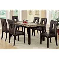 7 pieces Dining set With marble-look top and Faux Leather seats (Brown)