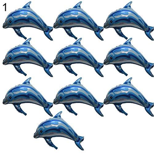 10 Pcs Dolphin Aluminum Foil Balloons Wedding Birthday Party Christmas Decor - Blue Ameesi