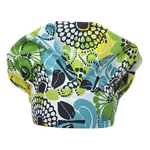 Opromo Cotton Bleach Friendly Banded Adjustable Scrub Cap Sweatband Bouffant Hat-Green Printed