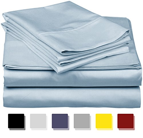 600-Thread-Count Best 100% Egyptian Cotton Sheets & Pillowcases Set-4 Pc Light Blue Long-staple Combed Cotton Bedding Full Sheet For Bed, Fits Mattress Upto 18'' Deep Pocket, Soft & Silky Sateen Weave from THREAD SPREAD