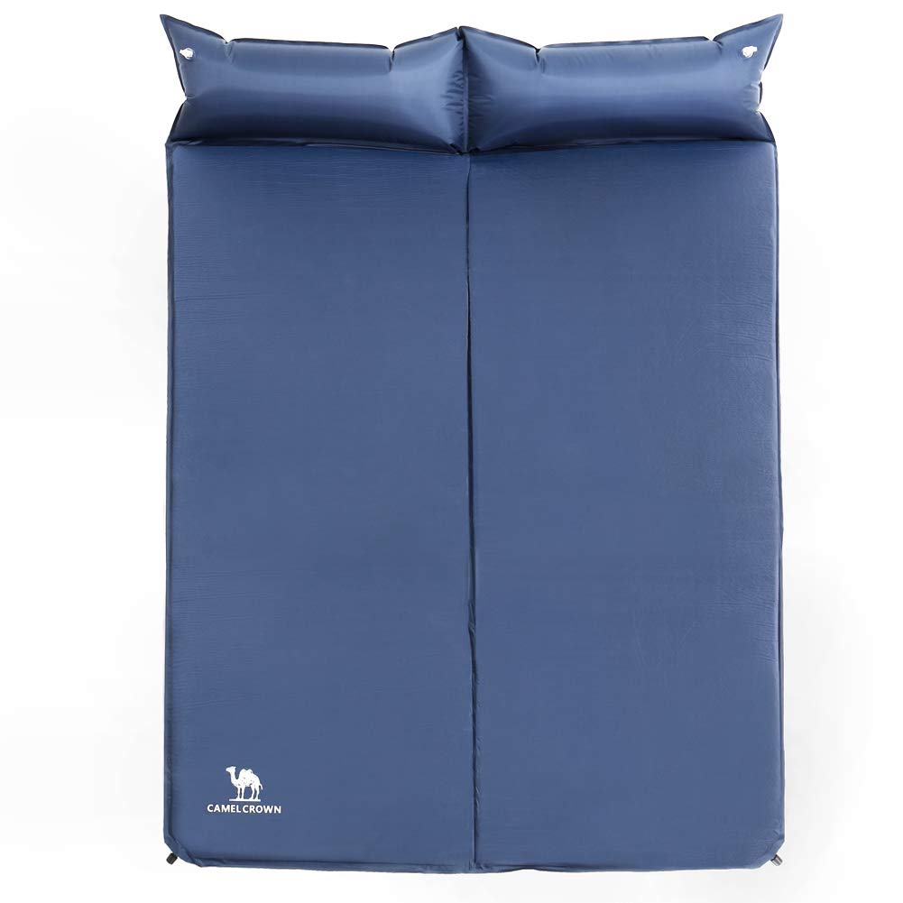 CAMELSPORTS Lightweight Double Self-Inflating Sleeping Pad with Attached Pillow Great for 2 Person Camping, Hiking, Backpacking,Beach (Blue) by CAMELSPORTS