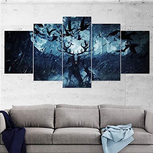lagifi The Witcher Canvas Wall Art, Kernun, Geralt, Multi Panel, Wild Hunt, The Witcher 5 Piece, Wall Art, Canvas, Witcher Poster 20x3520x4520x55cm Frame (Art Canvas Hunt)