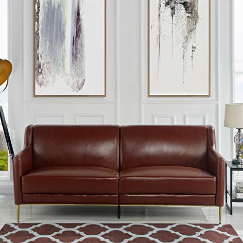 MidCentury Leather Sofa, Sleek Simple Living Room Couch Brown