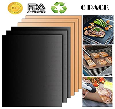 SCIONE Grill Mat, Non-Stick BBQ Grill Mat Set of 6 Barbecue Grilling Mats for Indoor Outdoor, Durable Portable Reusable FDA-Approved PFOA Free Black & Copper Grill Mat, No Mess Baking Mats by G M---3-3-6
