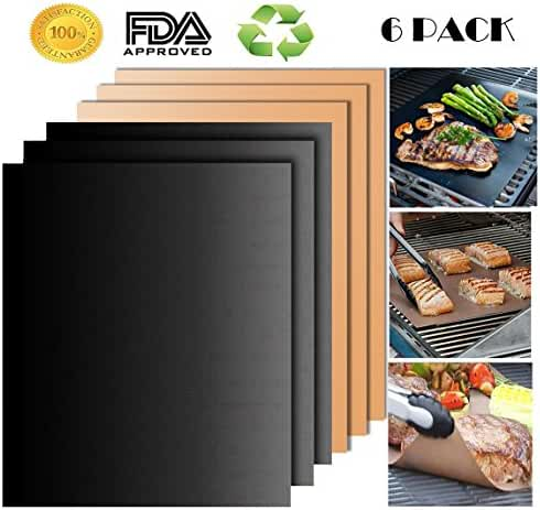 SCIONE Grill Mat, Non-Stick BBQ Grill Mat Set of 6 Barbecue Grilling Mats for Indoor Outdoor, Durable Portable Reusable FDA-Approved PFOA Free Black & Copper Grill Mat, No Mess Baking Mats