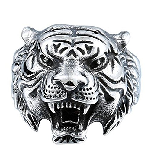 Men's 316L Stainless Steel Ring Band Vintage Gothic Tribal Biker Tiger Head Rings Animal Design Silver Size 13
