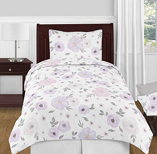 Sweet Jojo Designs Lavender Purple, Pink, Grey and White Shabby Chic Watercolor Floral Girl Twin Kid Childrens Bedding Comforter Set - 4 pieces - Rose Flower ()