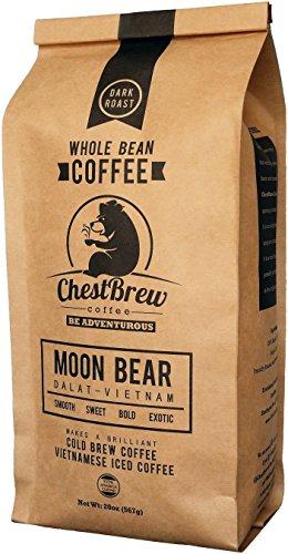 ChestBrew Whole Bean Coffee. Strong Dark Roast Vietnamese Coffee - Moon Bear Premium 20 Ounce Bag