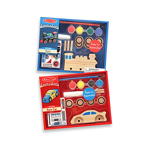 Melissa & Doug Decorate-Your-Own Wooden Train and Race Car Craft Kits, Set of 2