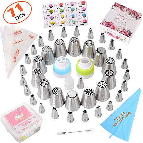 Russian Piping Tips set 71Pcs-Cake Decorating Supplies with storage case-39 Numbered easy to use (14 Russian+24 Icing+1 Leaf Tips) 3 Couplers-28 Pastry Bags-Paper User Guide