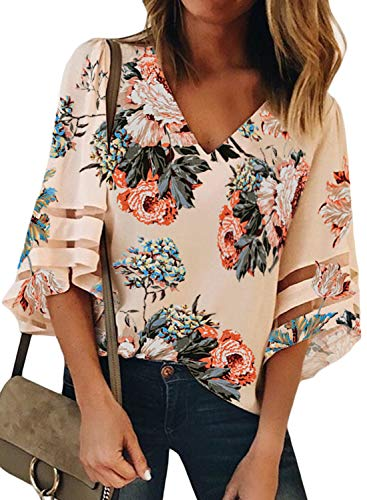 - BLENCOT Women Ladies Sexy V Neck Floral Lace Panel 3/4 Bell Sleeve Tops Loose Fit Shirts Blouses Apricot L