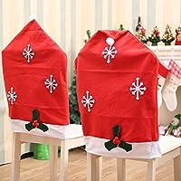 AstiVita Christmas Decor Chair Cover Santa Hat (4-Piece Set) Xmas Seat Covers I Christmas Decorations