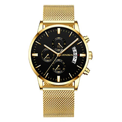 WoCoo Fsshion Luxury Analog Quartz Date Watchwatches wrist watch bands pocket smartwatches Designer Watches with Stainless Milanese Mesh Strap - 14k Quartz Pocket Watch