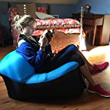 WooHoo 2.0 Giant Inflatable Lounger Chair with Carry Bag. Inflates in Seconds. Hangout as Lounge Chair, Bean Bag, Air Hammock, Sofa, Couch, Air Bag. NEW MODEL PATENT PENDING (Blue Chair)