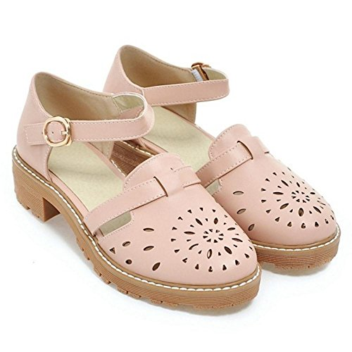 Court Shoes Gladiator TAOFFEN Sandals Pink Size Ankle Shoes Women's 33 Flat Asian Strap D'Orsay xIp5Bp8
