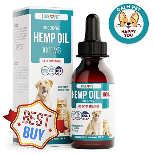 Hemp Oil for Dogs - 1000 mg - Provides Anxiety Relief - Natural Support for Hip and Joint - Better Mood and Sleep - 100% Organic Treat and Food Supplement - Grown and Extracted in USA