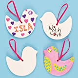 Baker Ross Ceramic Bird Hanging Decorations 9.5cm with Ribbon for Children to Paint & Decorate(Pack of 5)