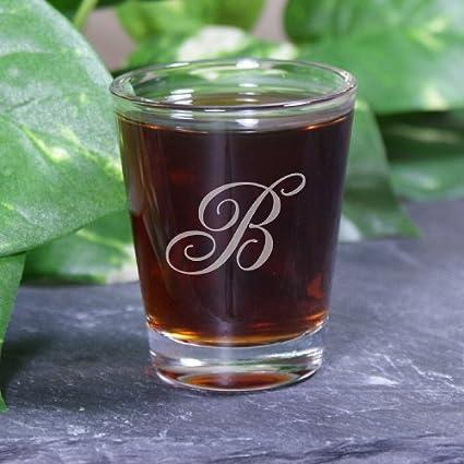 amazon com monogram shot glass 2oz engraved shot glasses