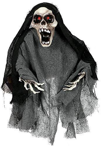 60cm da Parete Spaventoso Scheletro Animato Luci SUONO e Movimento Decorazione Festa Halloween Materiale di Scena