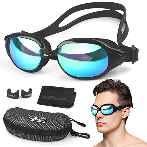 (Swim Goggles,Firesara Swimming Goggles Large Frame Anti-Fog UV 400 Protection No Leaking 3D Ergonomic Eye Socket Pool Goggles with Portable Protective Case for Men Women Adult Teens Youth-Whale Series)