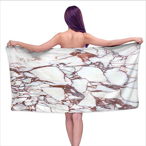 Glifporia White Bath Towels Marble,Dolomite Rocks Pattern with Characteristic Swirls and Cracked Lines Abstract Art,Beige Brown,W12 xL35 for Baby Girl ()