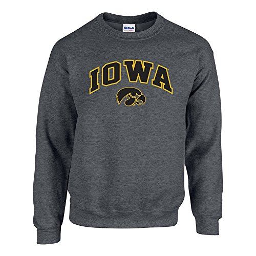 Iowa Ncaa Hawkeyes (Elite Fan Shop NCAA Men's Iowa Hawkeyes Crewneck Sweatshirt Dark Heather Arch Iowa Hawkeyes Dark Heather Large)