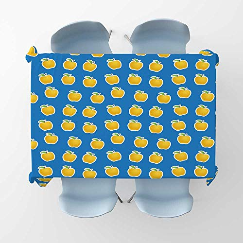 kungfu Decoration Apple Wrinkle Free Tablecloths Yellow Clipart Apples on Blue Background Delicious Vegetarian Food VitaminsRectangle/Oblong Table Cover W 60