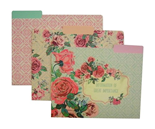 Vintage Pastels Floral File Folders (Set of 9)